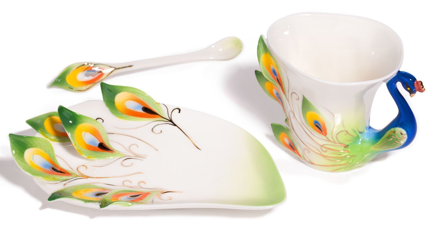 Peacock Coffee Mug, Spoon & Saucxer